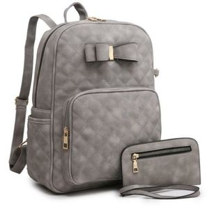 Large Gray Quilted Backpack